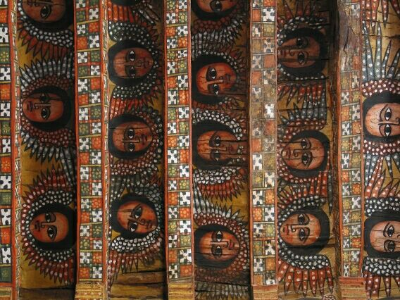 The colourful Saints adorning the roof of the 16th century church, Gondar.